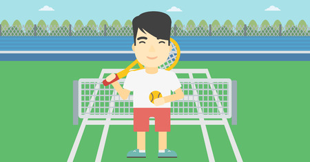 An asian tennis player standing on the tennis court. Male tennis player holding a tennis racket and a ball. Man playing tennis. Vector flat design illustration. Horizontal layout.