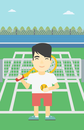 tennis court: An asian tennis player standing on the tennis court. Male tennis player holding a tennis racket and a ball. Man playing tennis. Vector flat design illustration. Vertical layout. Illustration