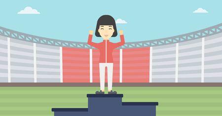 sportswoman: An asian young sportswoman celebrating on the winners podium. Sportswoman standing on the first place on the winners podium with raised hands. Vector flat design illustration. Horizontal layout. Illustration