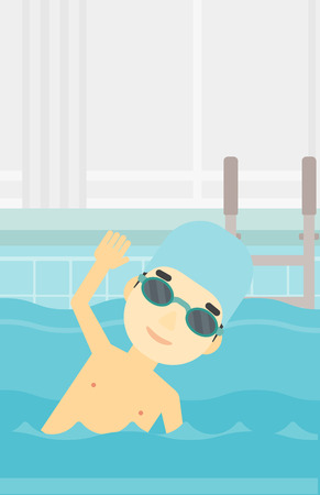 swimming cap: An asian young sportsman wearing cap and glasses swimming in pool. Professional male swimmer in swimming pool. Vector flat design illustration. Vertical layout.