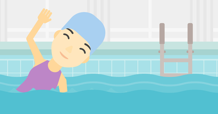 swimming cap: An asian young sportswoman wearing cap and glasses swimming in pool. Professional female swimmer in swimming pool. Vector flat design illustration. Horizontal layout.