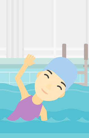 swimming cap: An asian young sportswoman wearing cap and glasses swimming in pool. Professional female swimmer in swimming pool. Vector flat design illustration. Vertical layout. Illustration