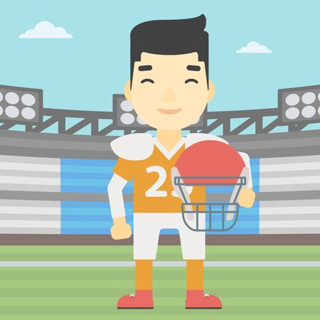 rugby field: An asian young rugby player with the beard holding ball and helmet in hands. Male rugby player in uniform standing on rugby stadium. Vector flat design illustration. Square layout.
