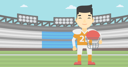 An asian young rugby player with the beard holding ball and helmet in hands. Male rugby player in uniform standing on rugby stadium. Vector flat design illustration. Horizontal layout.
