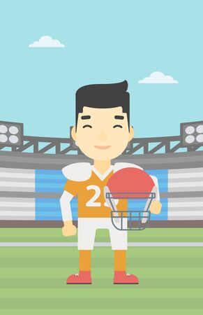rugby field: An asian young rugby player with the beard holding ball and helmet in hands. Male rugby player in uniform standing on rugby stadium. Vector flat design illustration. Vertical layout. Illustration
