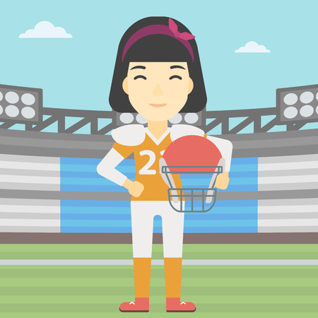 rugby field: An asian young professional rugby player holding ball and helmet in hands. Female rugby player in uniform standing on rugby stadium. Vector flat design illustration. Square layout.