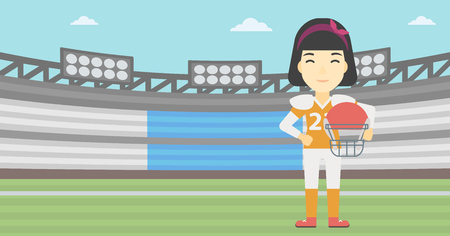 An asian young professional rugby player holding ball and helmet in hands. Female rugby player in uniform standing on rugby stadium. Vector flat design illustration. Horizontal layout. Illustration