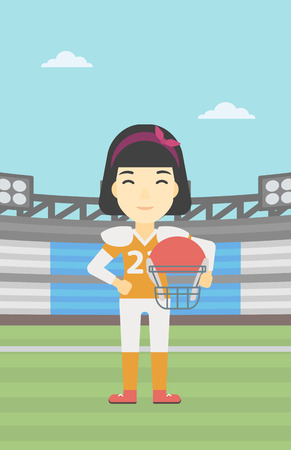 rugby field: An asian young professional rugby player holding ball and helmet in hands. Female rugby player in uniform standing on rugby stadium. Vector flat design illustration. Vertical layout. Illustration