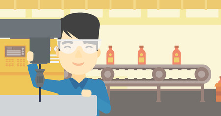 milling: An asian man working on a milling machine at workshop. Man using milling machine at factory. Man making a hole using a milling machine. Vector flat design illustration. Horizontal layout.