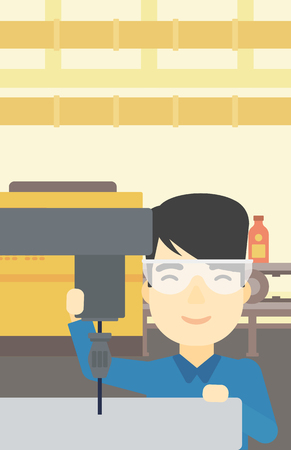 the miller: An asian man working on a milling machine at workshop. Man using milling machine at factory. Man making a hole using a milling machine. Vector flat design illustration. Vertical layout.