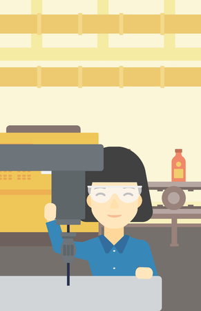 steel mill: An asian woman working on milling machine at workshop. Woman using milling machine at factory. Woman making a hole using a milling machine. Vector flat design illustration. Vertical layout.