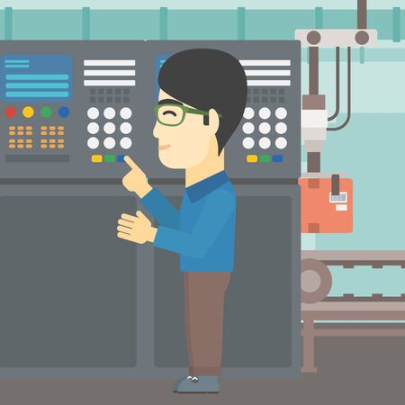 button front: An asian man working on control panel. Man pressing button at control panel in plant. Engineer standing in front of the control panel. Vector flat design illustration. Square layout. Illustration