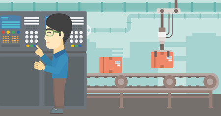 control panel: An asian man working on control panel. Man pressing button at control panel in plant. Engineer standing in front of the control panel. Vector flat design illustration. Horizontal layout.