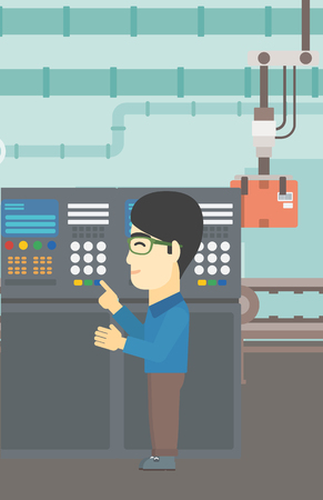 control panel: An asian man working on control panel. Man pressing button at control panel in plant. Engineer standing in front of the control panel. Vector flat design illustration. Vertical layout.