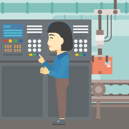 button front: An asian woman working on control panel. Woman pressing button at control panel in plant. Engineer standing in front of the control panel. Vector flat design illustration. Square layout.