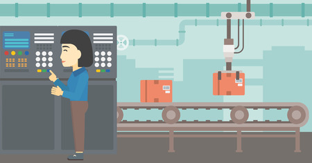button front: An asian woman working on control panel. Woman pressing button at control panel in plant. Engineer standing in front of the control panel. Vector flat design illustration. Horizontal layout. Illustration