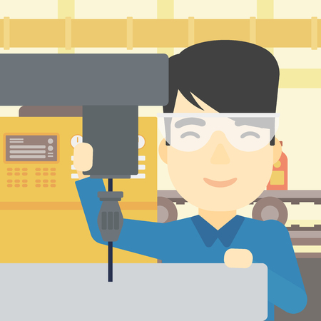 making hole: An asian man working on a milling machine at workshop. Man using milling machine at factory. Man making a hole using a milling machine. Vector flat design illustration. Square layout. Illustration