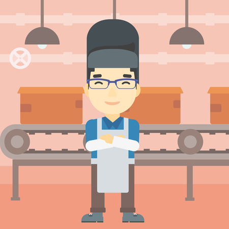 industrial worker: An asian industrial worker with protective welder mask. Welder with arms crossed on the background of factory workshop with conveyor belt. Vector flat design illustration. Square layout. Illustration
