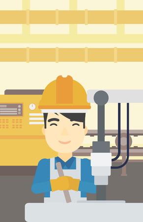Een Aziatische man werkt aan industriële boormachine. Man met behulp van boormachine bij fabriek. Metaalbewerker boren op de werkplek. Vector platte ontwerp illustratie. Verticale lay-out.