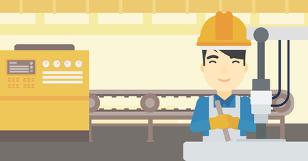 metalworker: An asian man working on industrial drilling machine. Man using drilling machine at manufactory. Metalworker drilling at workplace. Vector flat design illustration. Horizontal layout.