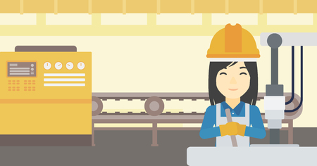An asian woman working on industrial drilling machine. Woman using drilling machine at manufactory. Metalworker drilling at workplace. Vector flat design illustration. Horizontal layout. Illustration