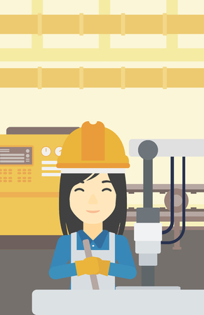 metalworker: An asian woman working on industrial drilling machine. Woman using drilling machine at manufactory. Metalworker drilling at workplace. Vector flat design illustration. Vertical layout.