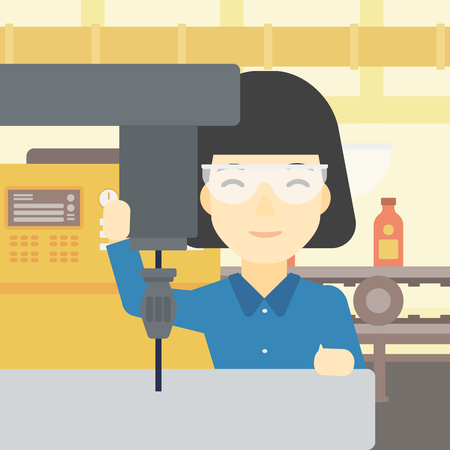 the miller: An asian woman working on milling machine at workshop. Woman using milling machine at factory. Woman making a hole using a milling machine. Vector flat design illustration. Square layout.