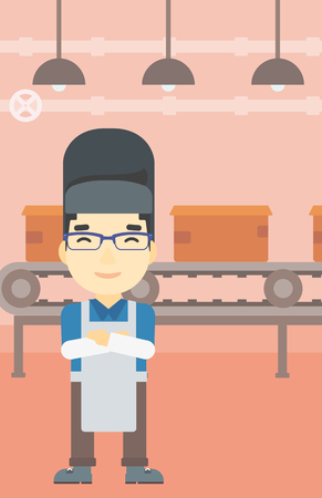 An asian industrial worker with protective welder mask. Welder with arms crossed on the background of factory workshop with conveyor belt. Vector flat design illustration. Vertical layout.