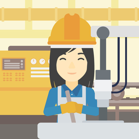 An asian woman working on industrial drilling machine. Woman using drilling machine at manufactory. Metalworker drilling at workplace. Vector flat design illustration. Square layout. Illustration