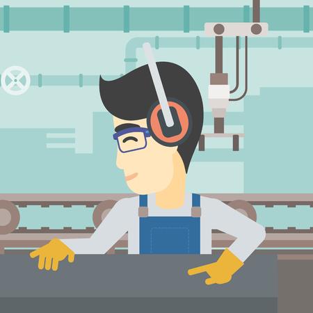 An asian man working on metal press machine. Worker in headphones operating metal press machine at factory workshop. Vector flat design illustration. Square layout. Иллюстрация