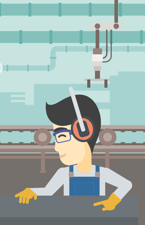 metal worker: An asian man working on metal press machine. Worker in headphones operating metal press machine at factory workshop. Vector flat design illustration. Vertical layout.