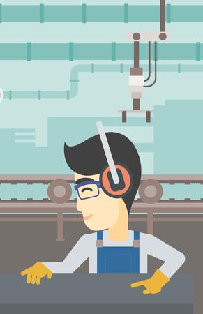 An asian man working on metal press machine. Worker in headphones operating metal press machine at factory workshop. Vector flat design illustration. Vertical layout.