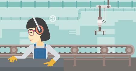 An asian woman working on metal press machine. Worker in headphones operating metal press machine at workshop. Woman using press machine. Vector flat design illustration. Horizontal layout.