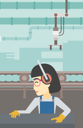 An asian woman working on metal press machine. Worker in headphones operating metal press machine at workshop. Woman using press machine. Vector flat design illustration. Vertical layout. Иллюстрация