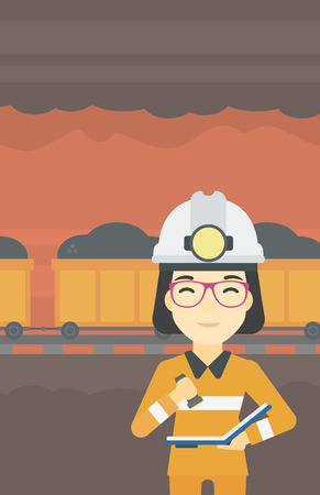 An asian miner  checking documents with the flashlight. Mine worker in hard hat on the background of mining tunnel with cart full of coal. Vector flat design illustration. Vertical layout. Illustration