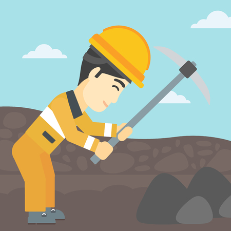 An asian miner  working with a pickaxe. Mine worker in hard hat. Miner at the coal mine. Vector flat design illustration. Square layout.