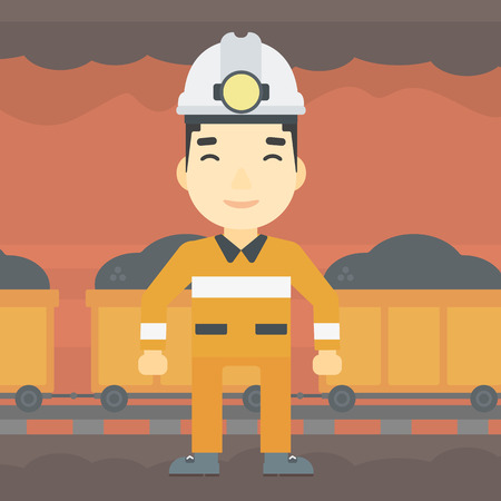 coal miner: An asian confident coal miner. Male miner in hardhat with torch. Miner standing on the background of mining tunnel with cart full of coal. Vector flat design illustration. Square layout.