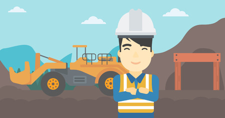 pit: An asian confident coal miner. A miner standing in front of a big mining equipment on the background of coal mine. Vector flat design illustration. Horizontal layout.