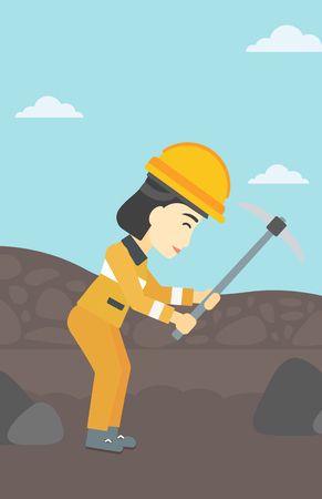 pickaxe: An asian female miner  working with a pickaxe. Mine worker in hard hat. Miner at the coal mine. Vector flat design illustration. Vertical layout.