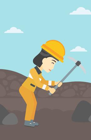 Een Aziatische vrouwelijke mijnwerker het werken met een pikhouweel. Mijnwerker in bouwvakker. Mijnwerker bij de kolenmijn. Vector platte ontwerp illustratie. Verticale lay-out. Stock Illustratie