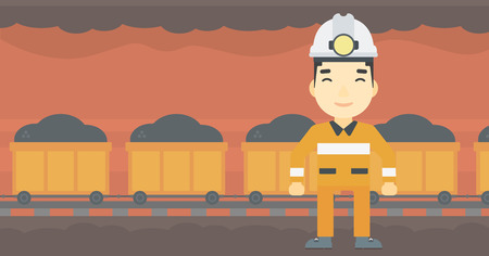 coal miner: An asian confident coal miner. Male miner in hardhat with torch. Miner standing on the background of mining tunnel with cart full of coal. Vector flat design illustration. Horizontal layout.