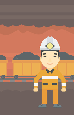 coal miner: An asian confident coal miner. Male miner in hardhat with torch. Miner standing on the background of mining tunnel with cart full of coal. Vector flat design illustration. Vertical layout.