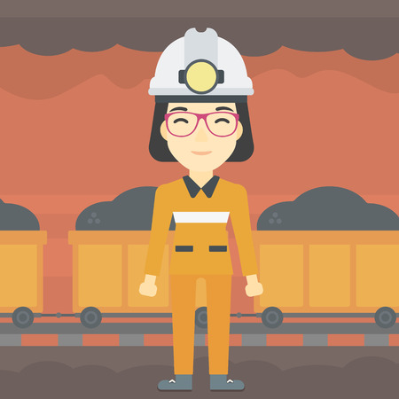 hardhat: An asian confident coal miner. A female miner in hardhat with torch. Miner standing on the background of mining tunnel with cart full of coal. Vector flat design illustration. Square layout.