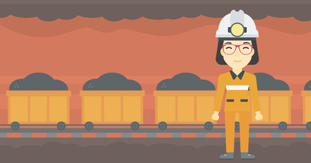 coal miner: An asian confident coal miner. Female miner in hardhat with torch. Miner standing on the background of mining tunnel with cart full of coal. Vector flat design illustration. Horizontal layout.