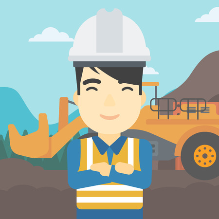 An asian confident coal miner. A miner standing in front of a big mining equipment on the background of coal mine. Vector flat design illustration. Square layout.