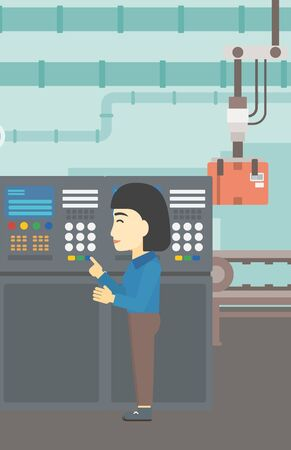 button front: An asian woman working on control panel. Woman pressing button at control panel in plant. Engineer standing in front of the control panel. Vector flat design illustration. Vertical layout.