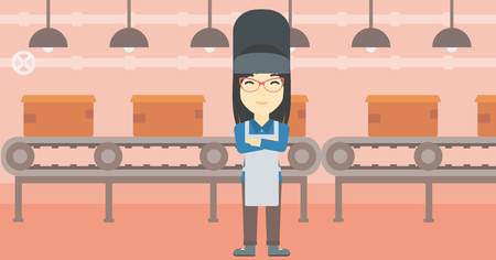 welder: An asian industrial worker with protective welder mask. Welder with arms crossed on the background of factory workshop with conveyor belt. Vector flat design illustration. Horizontal layout.