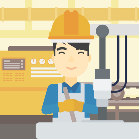 An asian man working on industrial drilling machine. Man using drilling machine at manufactory. Metalworker drilling at workplace. Vector flat design illustration. Square layout.
