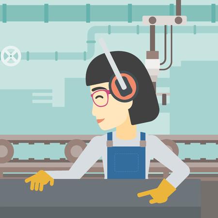 An asian woman working on metal press machine. Worker in headphones operating metal press machine at workshop. Woman using press machine. Vector flat design illustration. Square layout. Иллюстрация