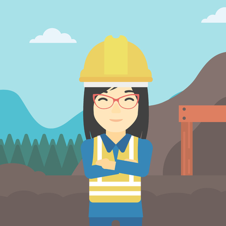 mining equipment: An asian confident coal miner. Female miner standing in front of a big mining equipment on the background of coal mine. Vector flat design illustration. Square layout.
